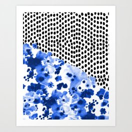 Monroe - India ink, indigo, dots, spots, print pattern, surface design Art Print