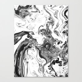 Suminagashi 1 black and white marble spilled ink ocean swirl watercolor painting Canvas Print