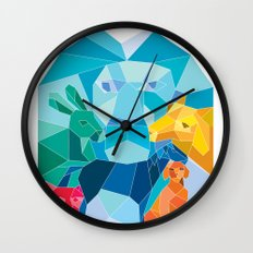 Lion Rabbit Cat Horse Dog Goat Low Polygon Wall Clock