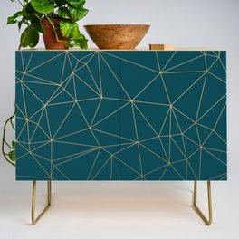 Benjamin Moore Hidden Sapphire Gold Geometric Pattern Credenza