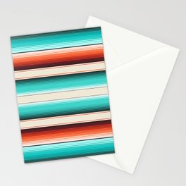 Navajo White, Turquoise and Burnt Orange Southwest Serape Blanket Stripes Stationery Cards