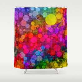 Rainbow Bubbles Abstract Design Shower Curtain