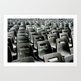 Gray Monochromatic Sea of Plastic Chairs in Vatican City Rome Photograph Art Print