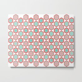Moroccan Tile. Minimalist Geometric Pattern in Coral Pink and Aqua Metal Print