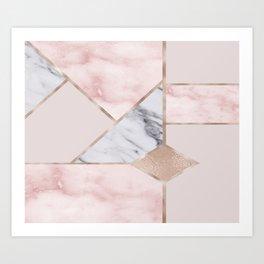 Geometric mix up - rose gold Art Print