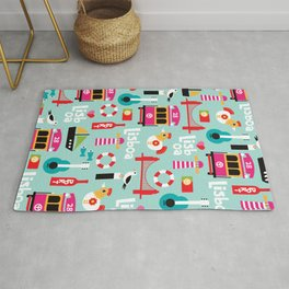 Lisbon - Lisboa Portugal travel icons souvenir illustration print Rug
