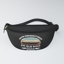 Funny Old Man with a Motor Boat Gift Fanny Pack