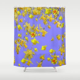 Yellow Daffodils Jonquils Narciscus Flowers Lilac Art Shower Curtain