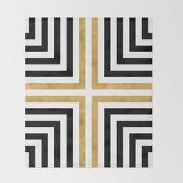 Simple Geometric Cross Pattern- White Gold on Black -Mix & Match with Simplicity of life Throw Blanket