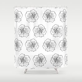 Hibiscus Flower Black and White Repeat Pattern Shower Curtain