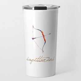 Watercolor Sagittarius Bow & Arrow Travel Mug
