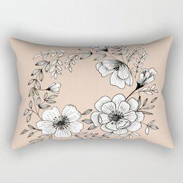 Line Flower Wreath Rectangular Pillow