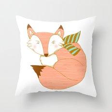 Fashionable Fox - Peach Throw Pillow