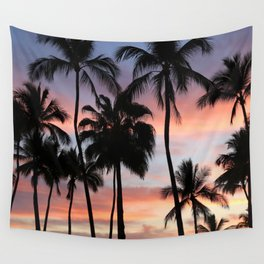 Tropical Palm Trees Sunset in Mexico Wall Tapestry