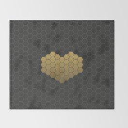 Beehive Hexagonal Geometric Heart Throw Blanket