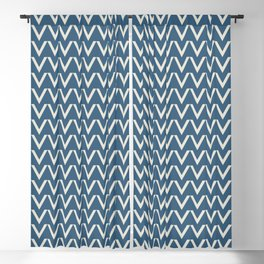 Linen White V Chevron Pattern on Blue Pair To 2020 Color of the Year Chinese Porcelain PPG1160-6 Blackout Curtain