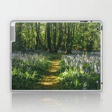 Path through wild Bluebells in ancient woodland. Wayland Wood, Norfolk, UK. Laptop & iPad Skin