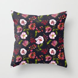 School Dayz Vintage Floral Watercolor Throw Pillow