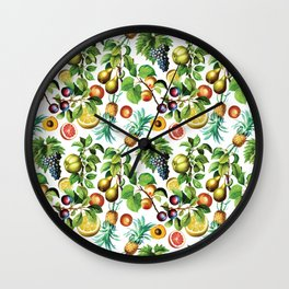 Vintage Colorful Fruits Wall Clock
