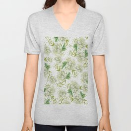 Elegant white green hand painted watercolor floral Unisex V-Neck
