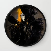 crow Wall Clocks featuring Crow by Dnzsea