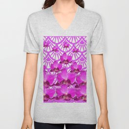 PURPLE ART DECO PATTERN ORCHIDS PATTERN ABSTRACT Unisex V-Neck