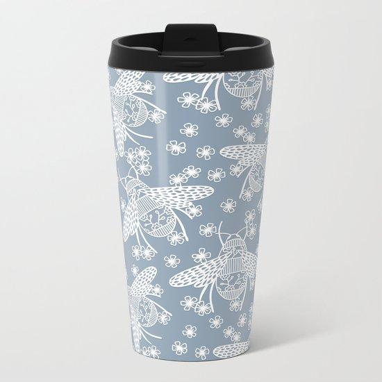 Papercut Bees Metal Travel Mug
