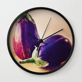 Garden Eggplants Wall Clock