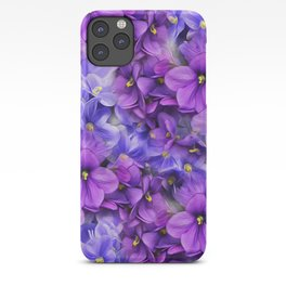 Violets in my garden, digital flower print iPhone Case