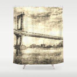 Manhattan Bridge New York Vintage Shower Curtain
