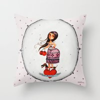 hello beautiful Throw Pillows featuring hello beautiful by elsbeth eksteen