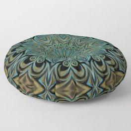 Teal and Gold Mandala Swirl Floor Pillow