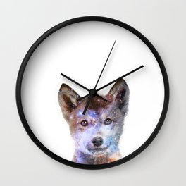 Baby Wolf Gasing At The Stars Wall Clock