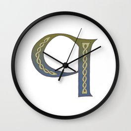 Celtic Knotwork Alphabet - Letter Q Wall Clock