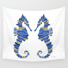 Seahorse – Navy & Gold Wall Tapestry