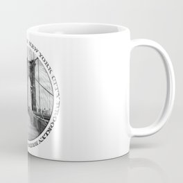 Brooklyn Bridge New York City (black & white with text) Coffee Mug