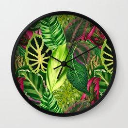 Nana's Wallpaper in Green Wall Clock