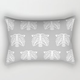 Human Rib Cage Pattern Gray Rectangular Pillow