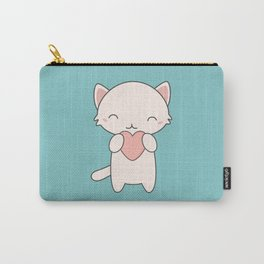 Kawaii Cute Cat With Hearts Carry-All Pouch