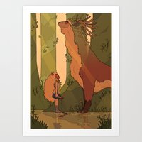 princess mononoke Art Prints featuring Princess Mononoke by StrangelyKatie