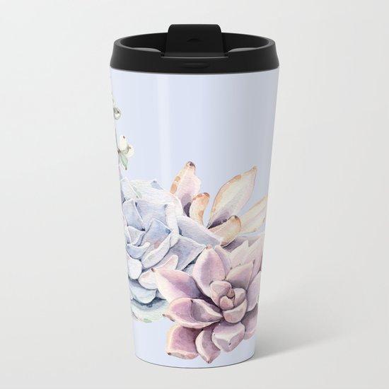 Pristine Blue Succulents Metal Travel Mug