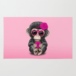 Pink Day of the Dead Sugar Skull Baby Chimp Rug