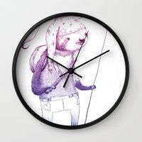 soldier Wall Clocks featuring Sloth Soldier by Maryanna Hoggatt