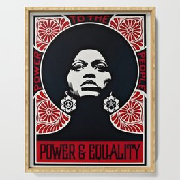 Angela Davis - Power & Equality - Power to the People - Red - African American Vintage Poster Serving Tray