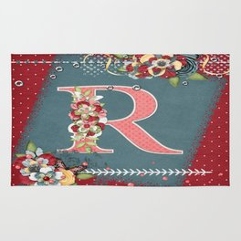 Country Charm Monogram Letter R Rug