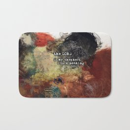Psalm 23 Christian Inspired Abstract Art with Bible Verse Bath Mat
