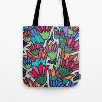 leah flores Tote Bags featuring Flores by Carolina Delleteze