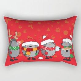 Christmas hedgehogs Rectangular Pillow