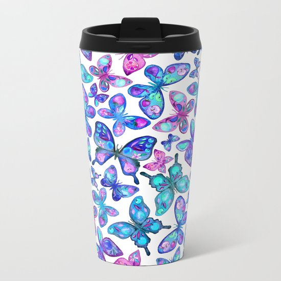 Watercolor Fruit Patterned Butterflies - aqua and sapphire Metal Travel Mug
