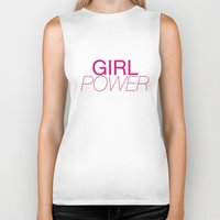 girl power Biker Tanks featuring Girl Power by kirstenariel